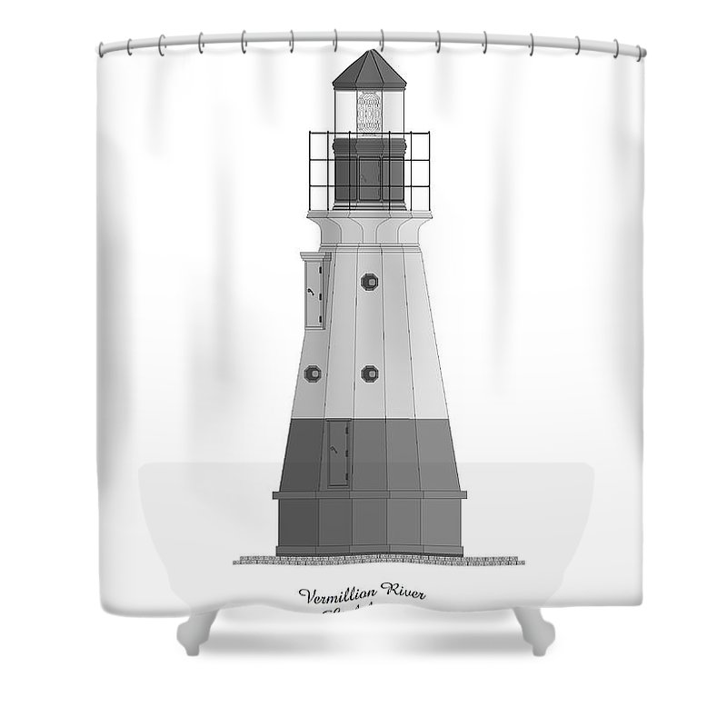 Lighthouse Shower Curtain featuring the painting Vermillion River Lighthouse Architectural Rendering by Anne Norskog