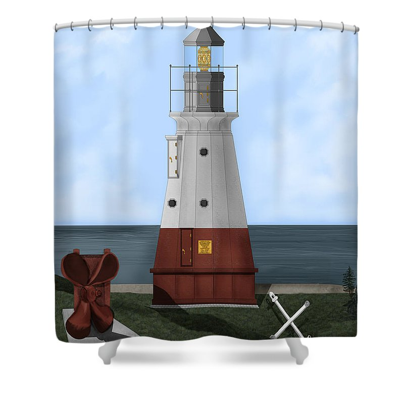 Lighthouse Shower Curtain featuring the painting Vermillion River Lighthouse On Lake Erie by Anne Norskog