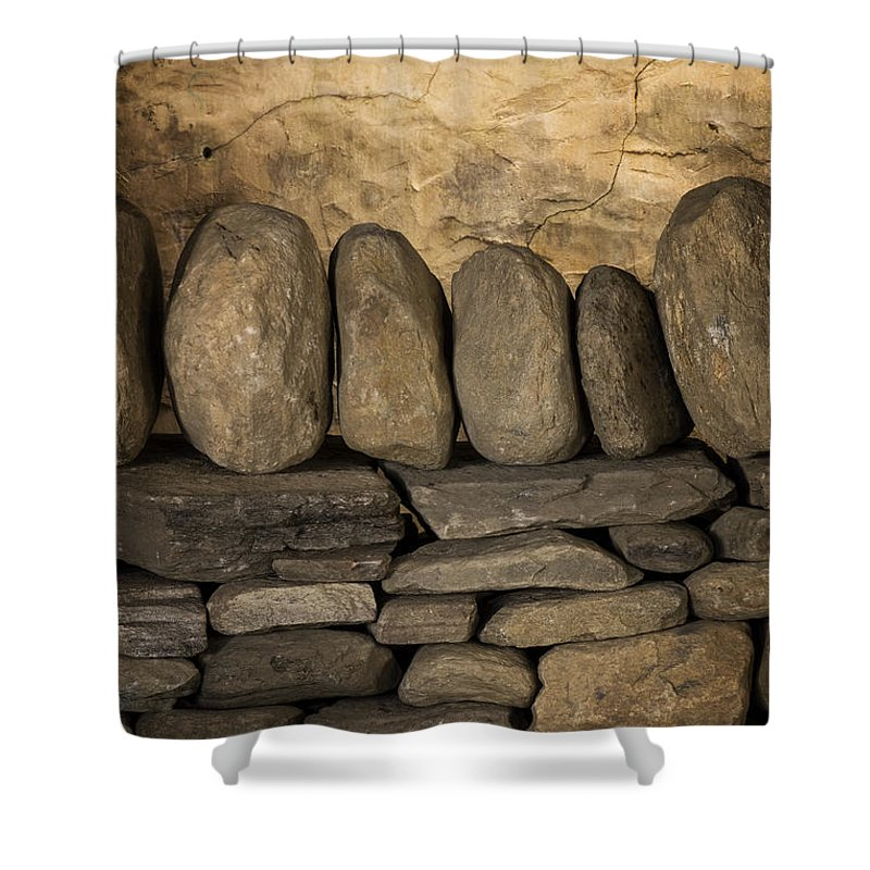 Scott Farm Vermont Shower Curtain featuring the photograph Vermont Rock Wall by Tom Singleton