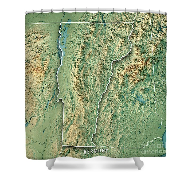 Topographic Map Vermont.Vermont State Usa 3d Render Topographic Map Border Shower Curtain