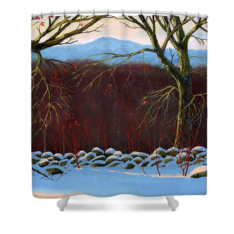 Landscape Shower Curtain featuring the painting Vermont Stone Wall by Frank Wilson