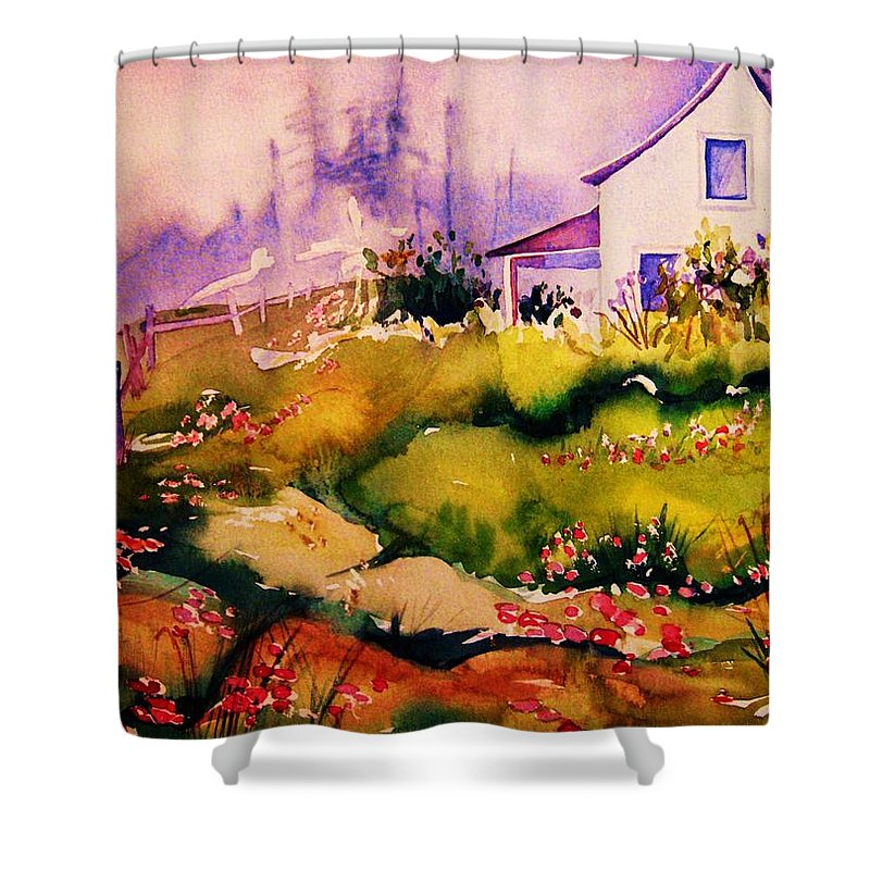 Cottagescenes Shower Curtain featuring the painting Vermont Summers by Carole Spandau