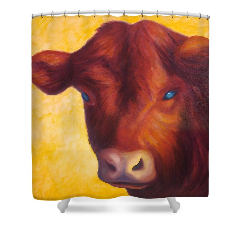 Bull Shower Curtain featuring the painting Vern by Shannon Grissom