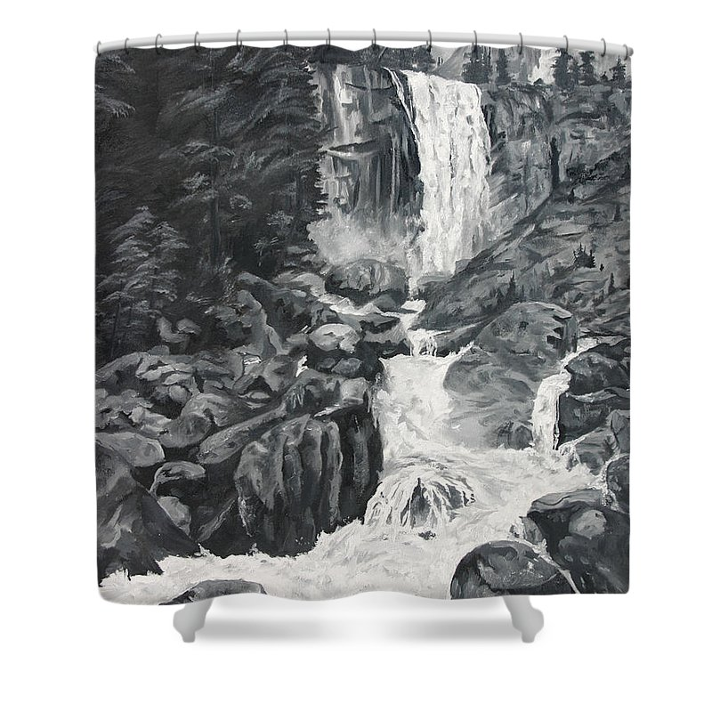 Landscape Shower Curtain featuring the painting Vernal Falls Black And White by Travis Day