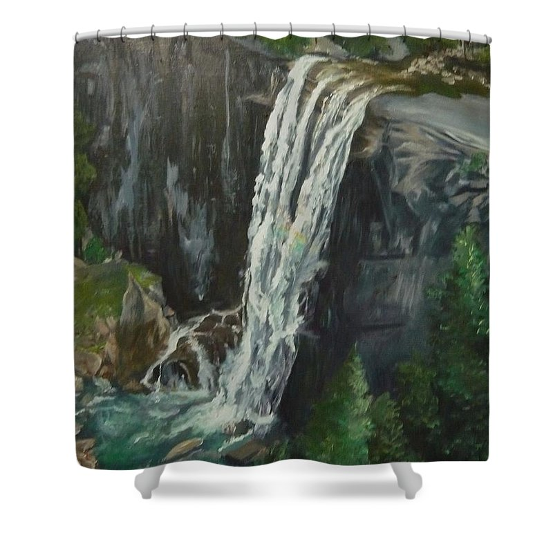 Vernal Falls Shower Curtain featuring the painting Vernal by Travis Day