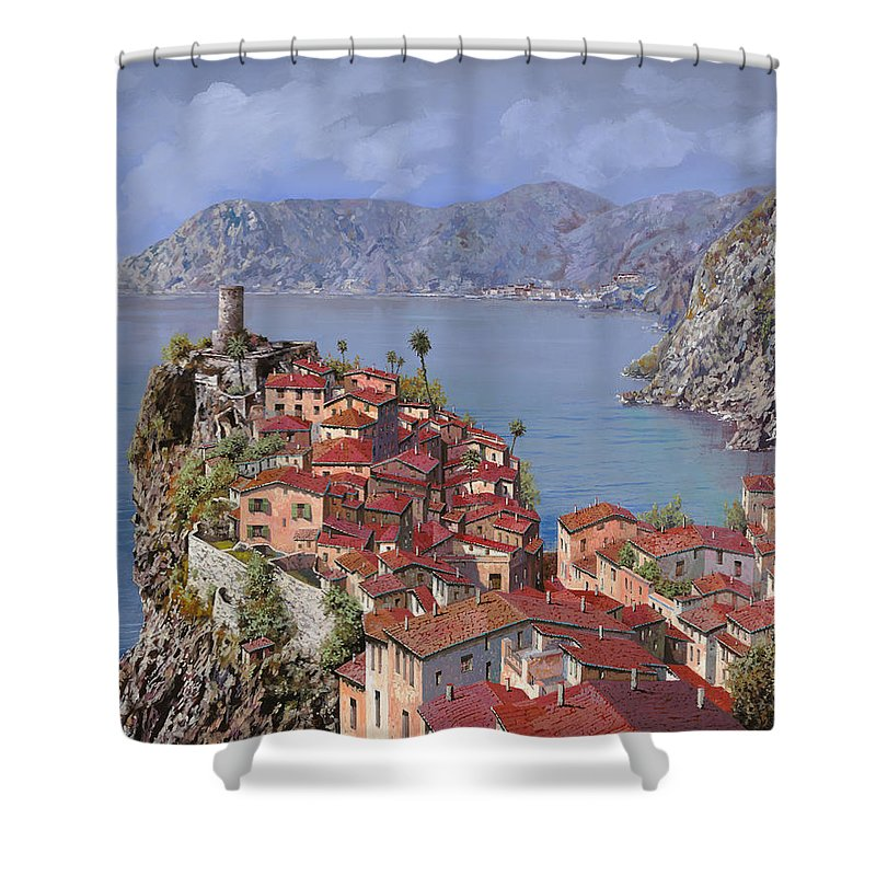 Seascapes Shower Curtain featuring the painting Vernazza-cinque Terre by Guido Borelli