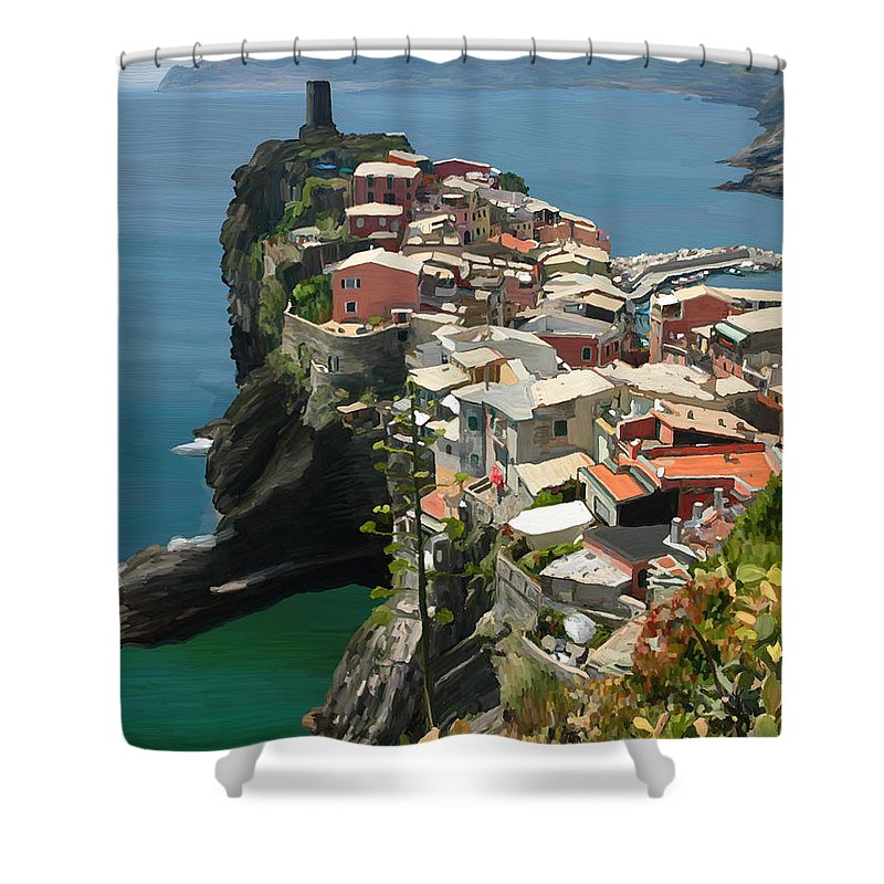Vernazza Shower Curtain featuring the painting Vernazza Italy by DW Singleton