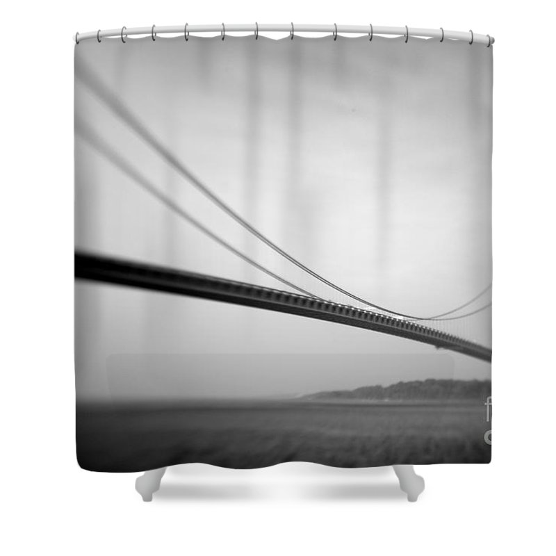 Black & White Shower Curtain featuring the photograph Verrazano Bridge 2 by Tony Cordoza