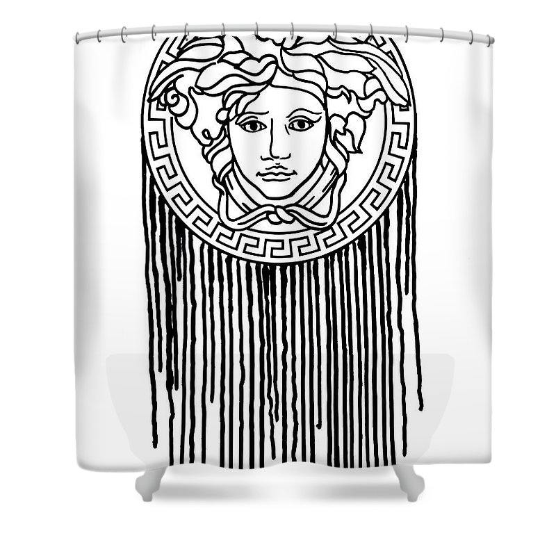 Versace Poster Shower Curtain Featuring The Painting Versage Print Dripping Art By Del