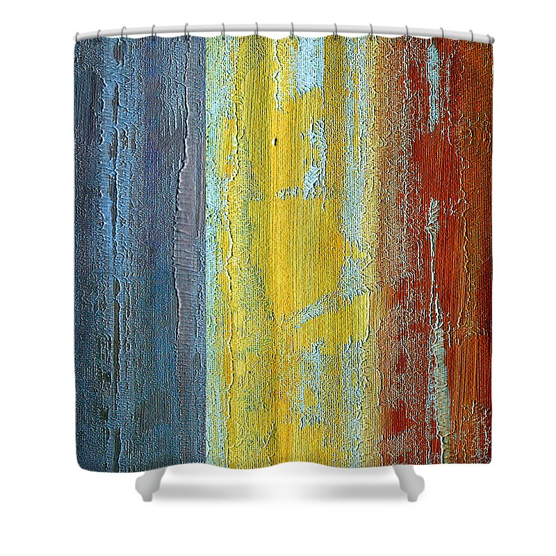 ruth Palmer Shower Curtain featuring the painting Vertical Interfusion II by Ruth Palmer