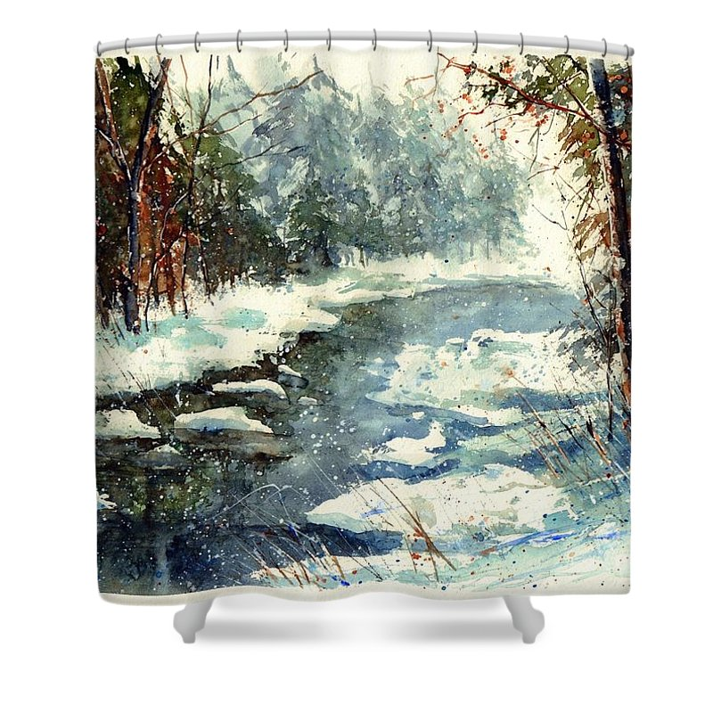 Village Shower Curtain featuring the painting Very Cold Winter Watercolor by Suzann Sines