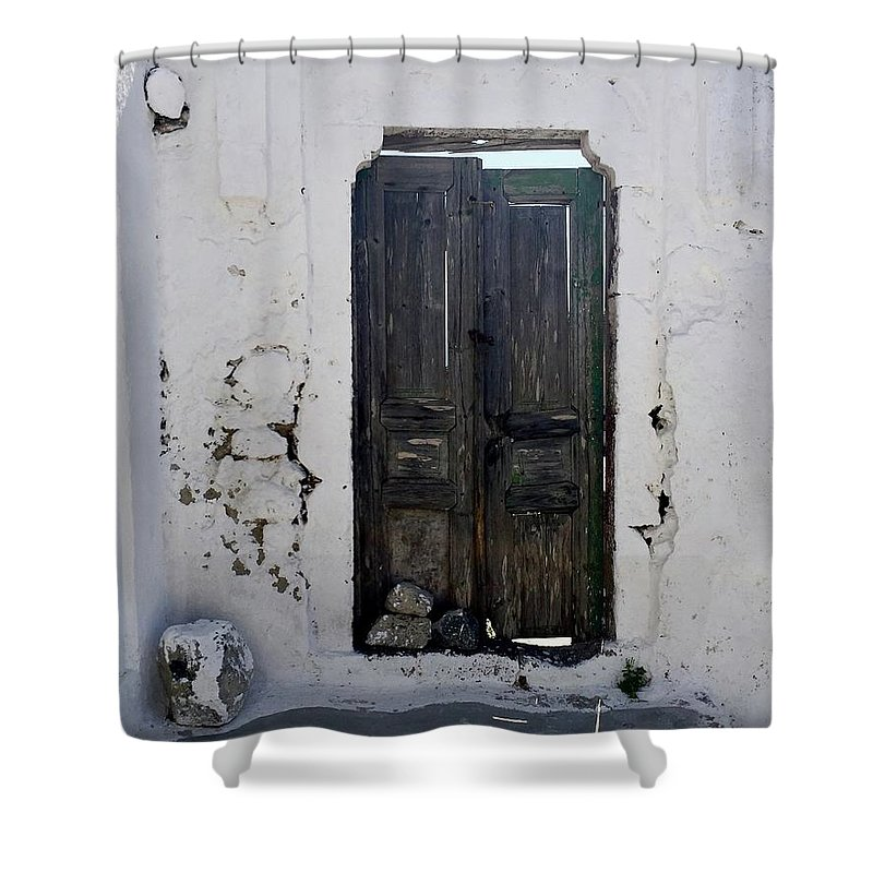 Door Shower Curtain featuring the photograph Very Old Door by Leslie Brashear