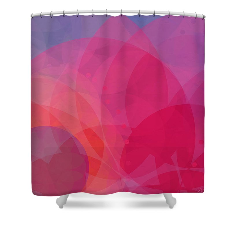Lotus Art Shower Curtain Featuring The Painting Vess Pink Red Violet Orange Abstract