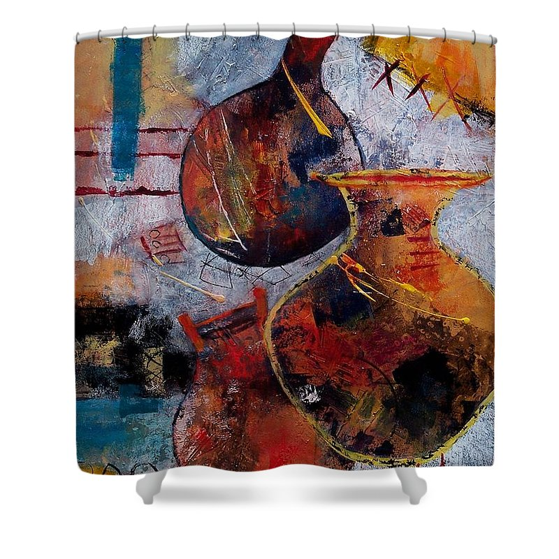 Abstract Expressionism Shower Curtain featuring the painting Vessels by Donna Frost