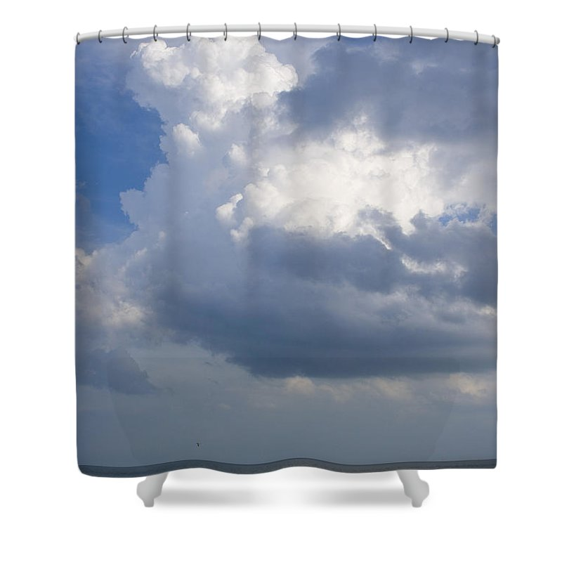 Ocean Nature Beach Sand Wave Water Sky Cloud White Bright Big Sun Sunny Vacation Relax Blue Shower Curtain featuring the photograph Vessels In The Sky by Andrei Shliakhau