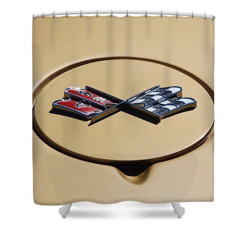 Corvette Shower Curtain featuring the photograph Vette Flags by Rob Hans