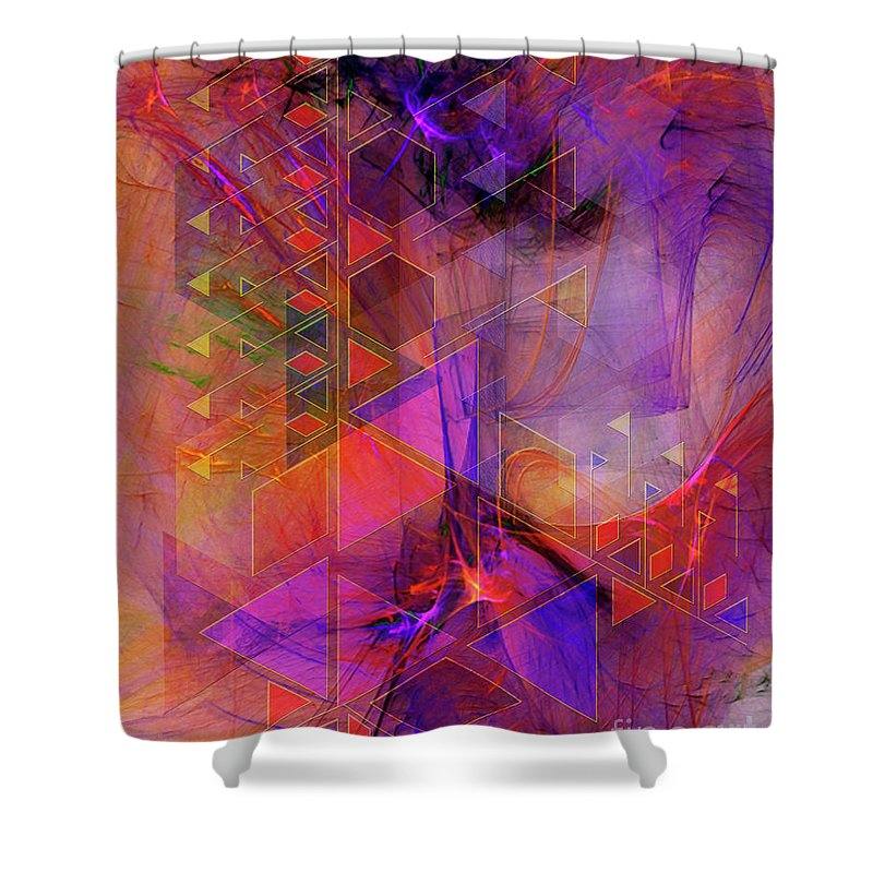 Vibrant Echoes Shower Curtain featuring the digital art Vibrant Echoes by John Beck
