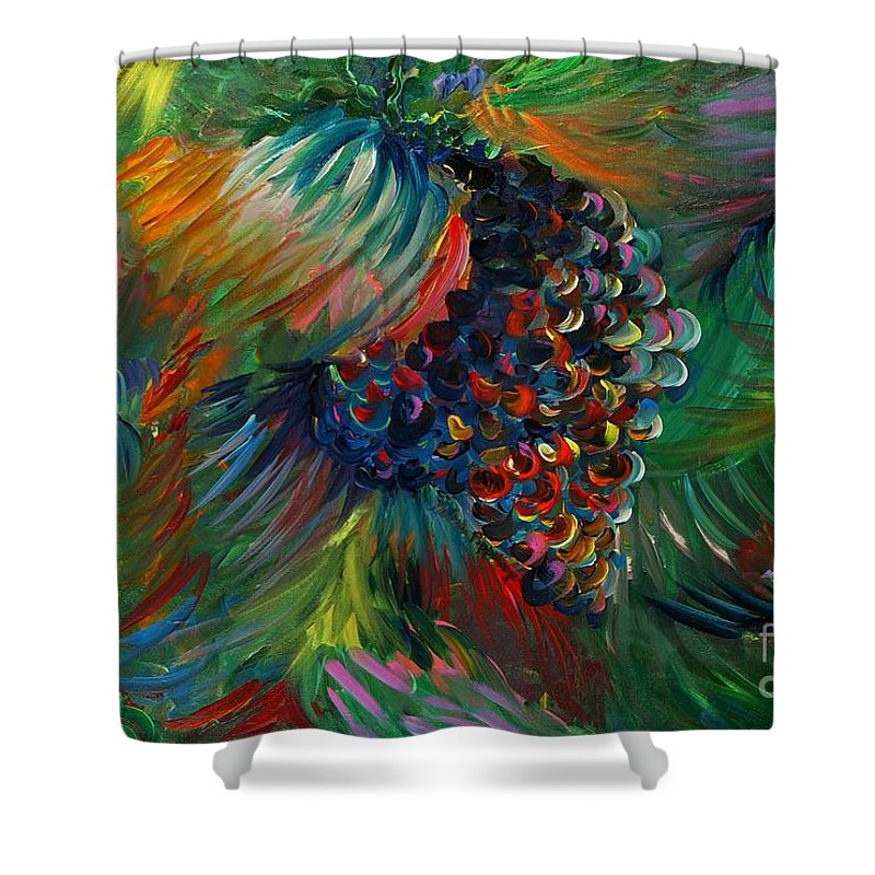 Grapes Shower Curtain featuring the painting Vibrant Grapes by Nadine Rippelmeyer