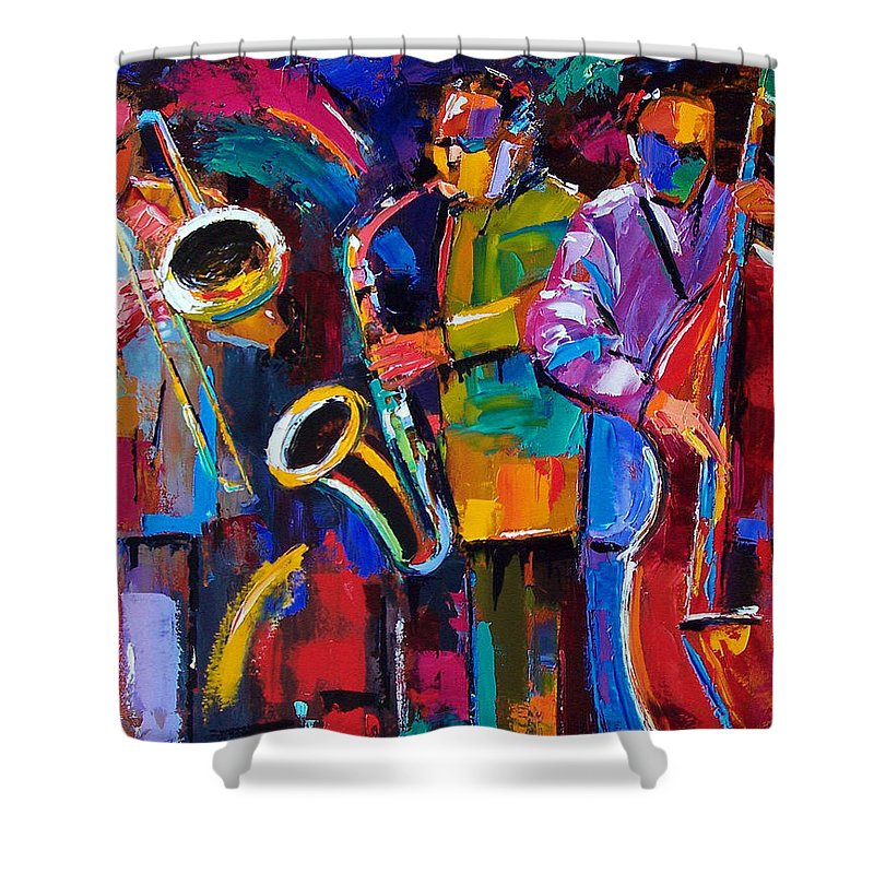 Jazz Shower Curtain featuring the painting Vibrant Jazz by Debra Hurd