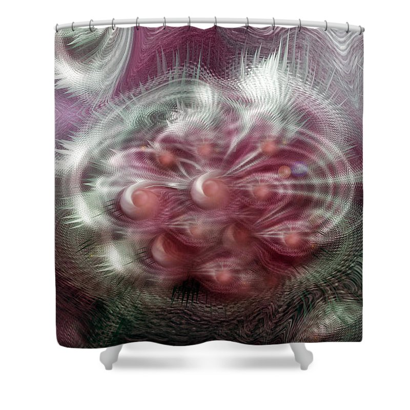Abstract Art Shower Curtain featuring the digital art Vibrations by Linda Sannuti