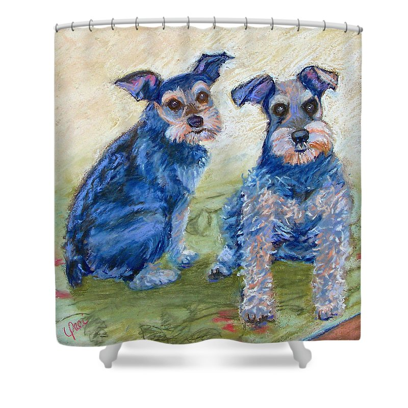 Dogs Shower Curtain featuring the painting Vickie's Pups by Laurie Paci