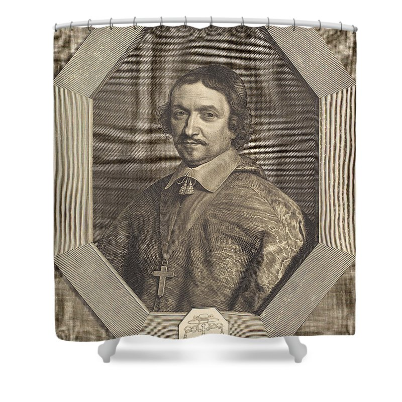 Shower Curtain featuring the drawing Victor Bouthillier by Robert Nanteuil After Philippe De Champaigne