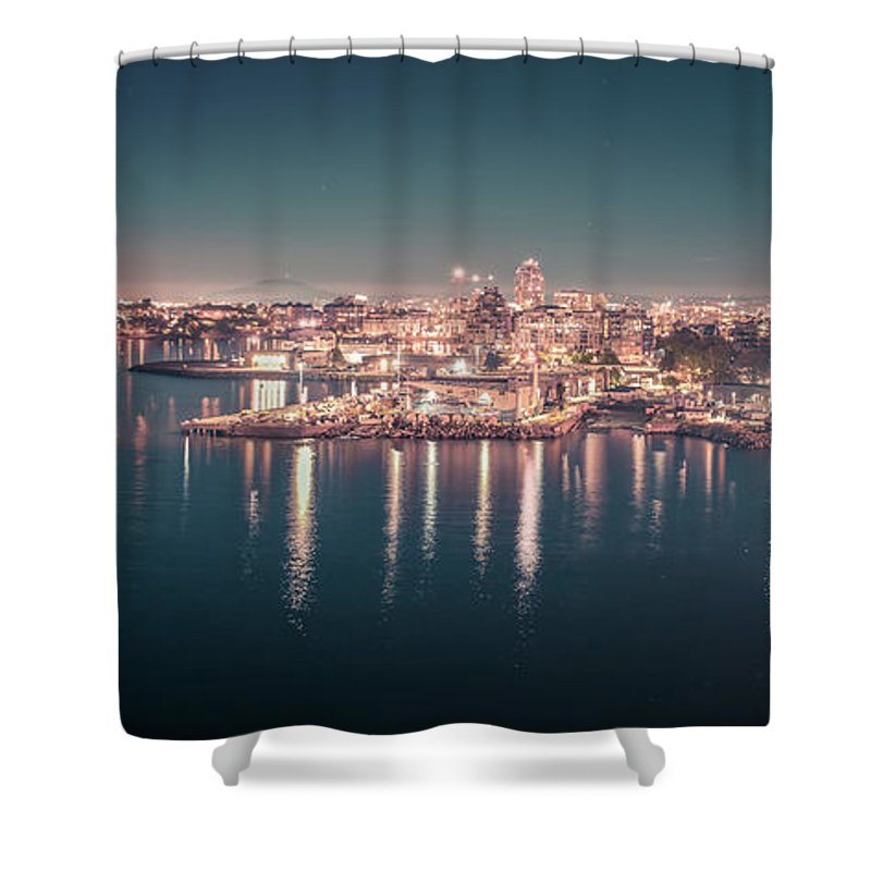 Victoria Bc Shower Curtain featuring the photograph Victoria British Columbia City Lights View From Cruise Ship by Alex Grichenko
