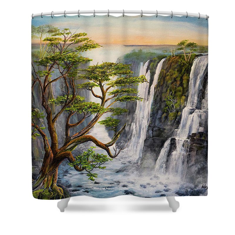Waterfalls Shower Curtain featuring the painting Victoria Falls Zimbabwe by Wayne Enslow