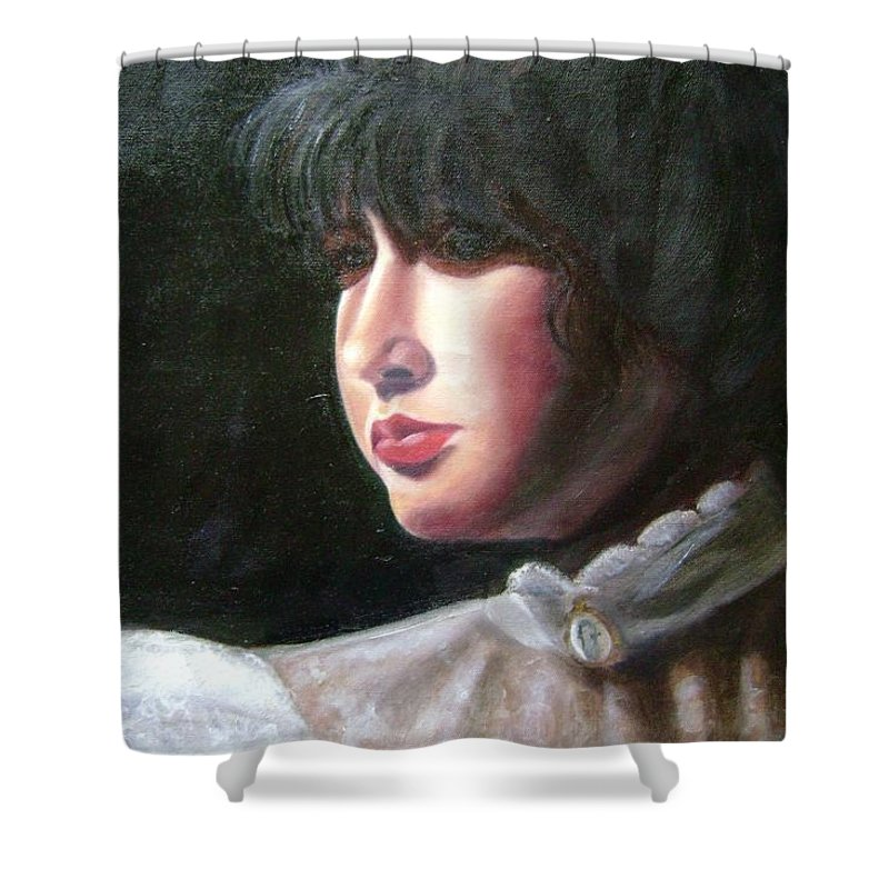 Girl In White Blouse Shower Curtain featuring the painting Victorian Blouse by Toni Berry