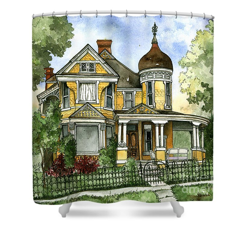 Victorian Shower Curtain featuring the painting Victorian In The Avenues by Shelley Wallace Ylst