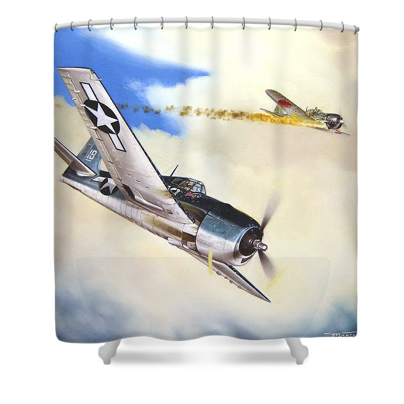 Military Shower Curtain featuring the painting Victory For Vraciu by Marc Stewart