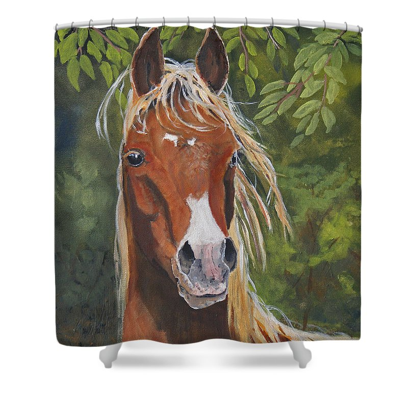Horse Shower Curtain featuring the painting Victory by Heather Coen