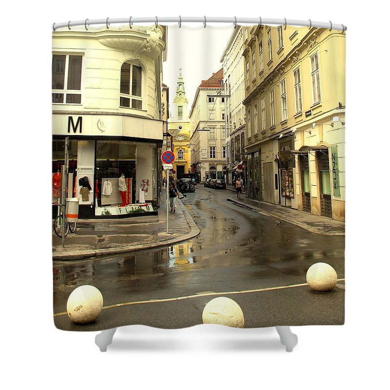 Vienna Shower Curtain featuring the photograph Vienna Corner After The Rain by Ian MacDonald