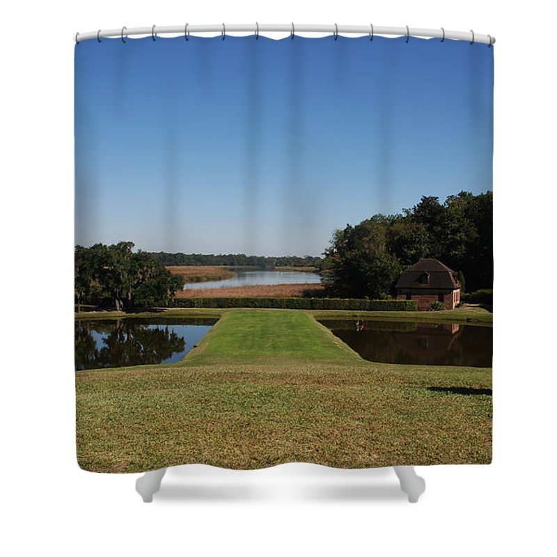Photography Shower Curtain featuring the photograph View Down To The Ashley River At Middleton Place Plantation Charleston by Susanne Van Hulst