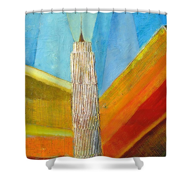 Abstract Cityscape Shower Curtain featuring the painting View From 34th St by Habib Ayat