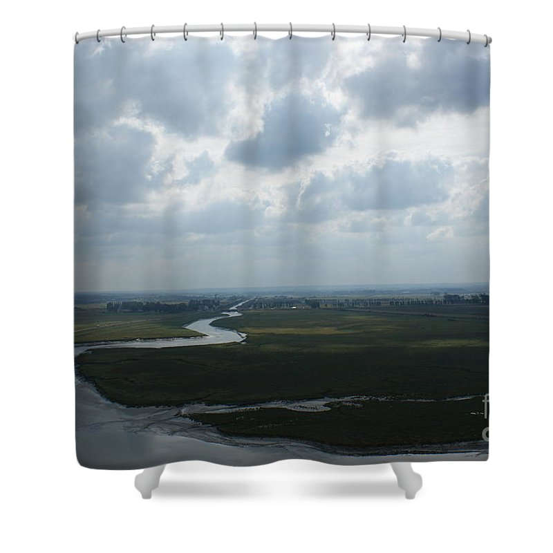 Mont St. Michel Shower Curtain featuring the photograph View From Abbey On Mont St. Michel by Christine Jepsen