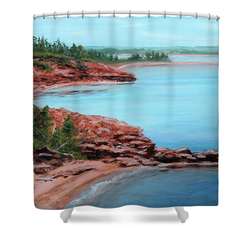 Cape Bear Shower Curtain featuring the painting View From Cape Bear by Lorraine Vatcher