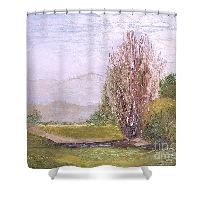 Landscape Shower Curtain featuring the painting View From Casa Galleria by Jeanie Watson