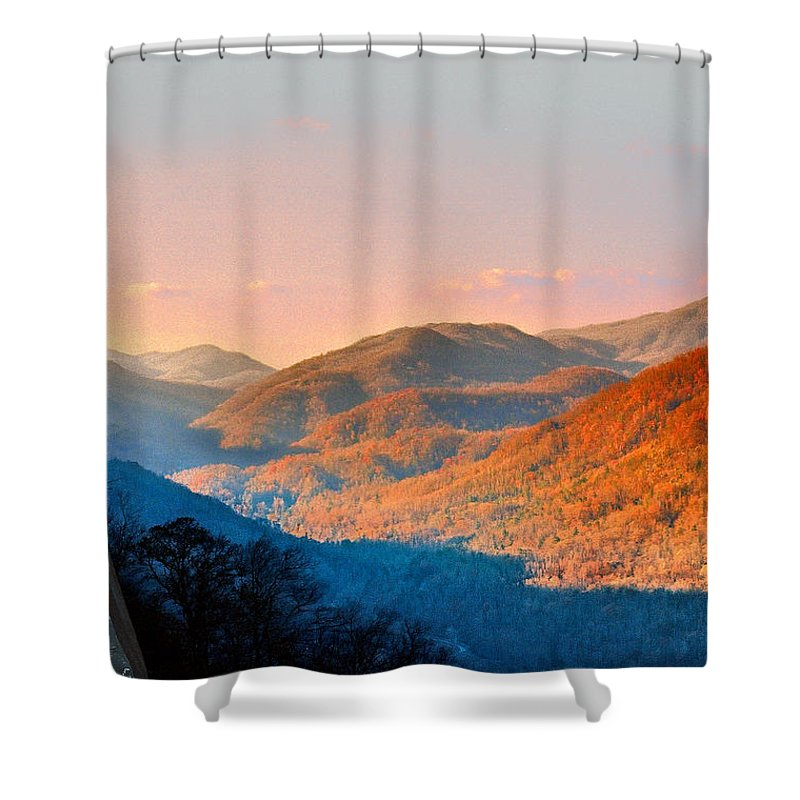 Landscape Shower Curtain featuring the photograph View From Chimney Rock-north Carolina by Steve Karol