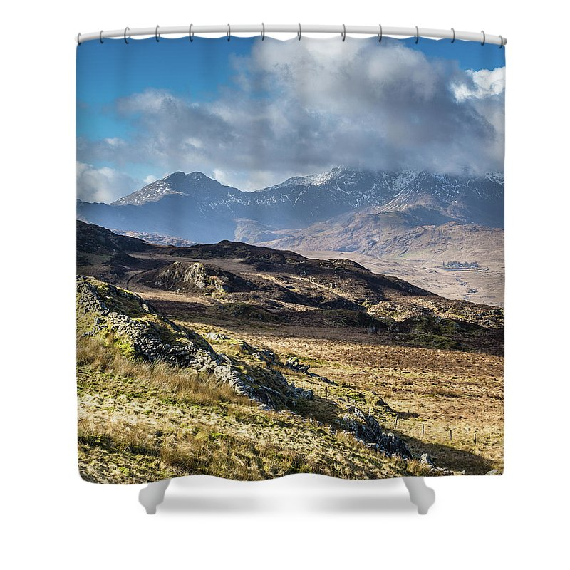 Moel Siabod Shower Curtain featuring the photograph View from Moel Siabod, Snowdonia, North Wales by Anthony Lawlor