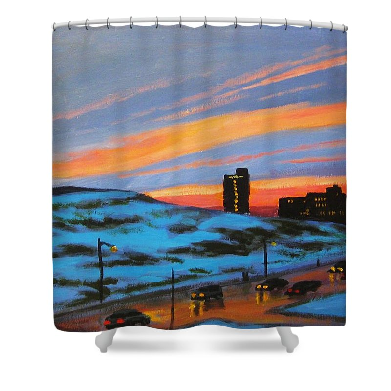 City At Night Shower Curtain featuring the painting View From My Balcony by John Malone