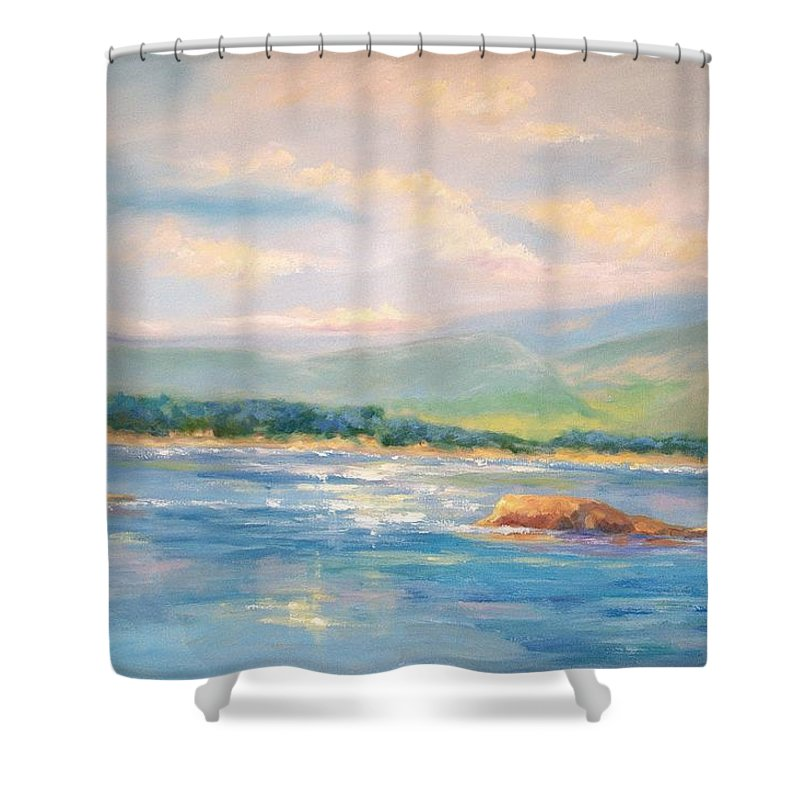 Pebble Beach Shower Curtain featuring the painting View From Pebble Beach Grille by Ginger Concepcion
