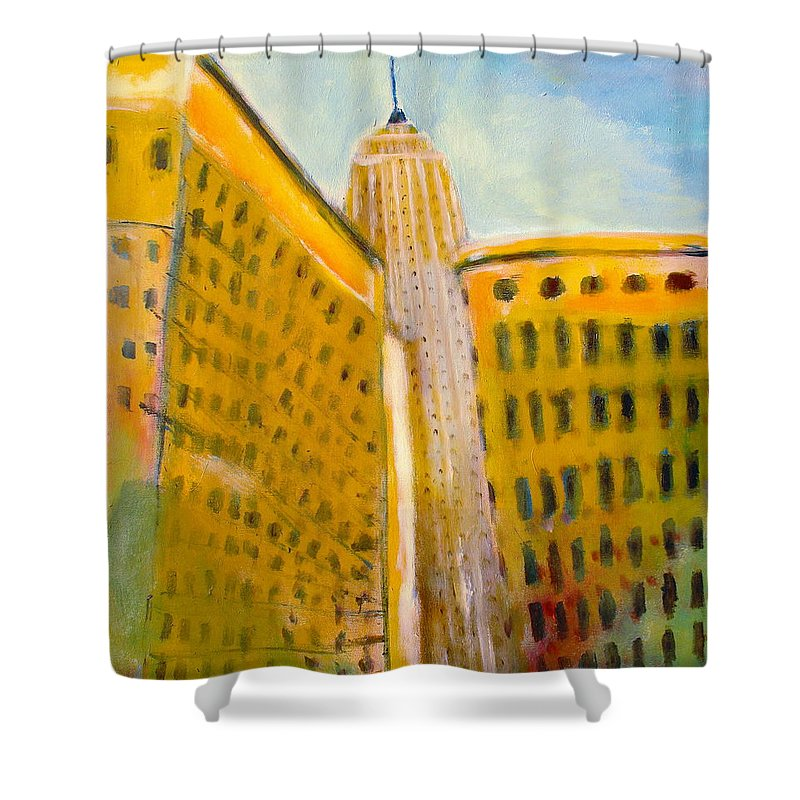 Abstract Cityscape Shower Curtain featuring the painting View From The 33 St by Habib Ayat