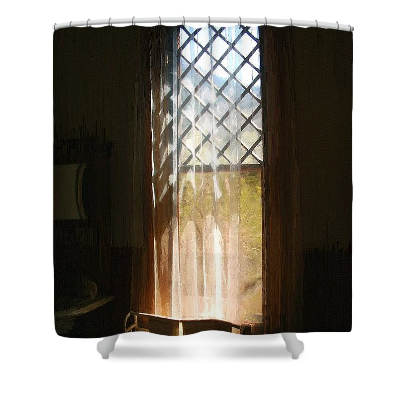 Vintage Shower Curtain featuring the painting View From The Bathroom Window by RC DeWinter