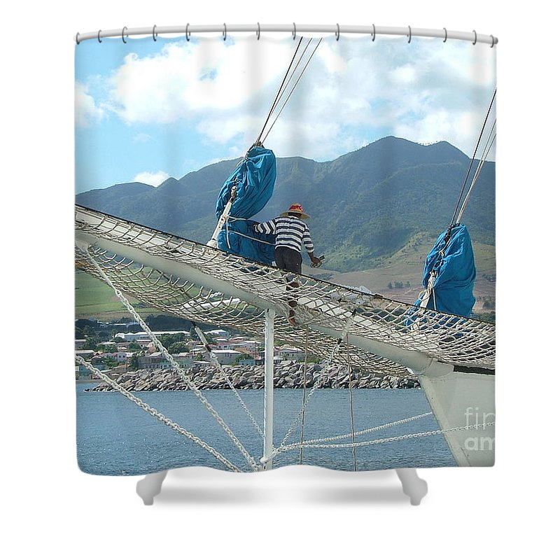 Sailing Shower Curtain featuring the photograph St. Kitts From The Bow by Neil Zimmerman