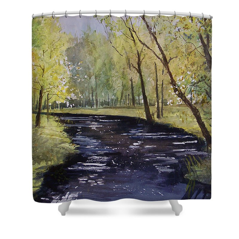 Watercolor Shower Curtain featuring the painting View From The Covered Bridge by Ryan Radke