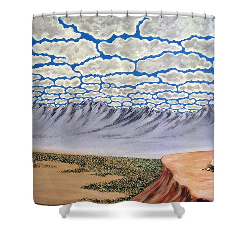 Desertscape Shower Curtain featuring the painting View From The Mesa by Marco Morales