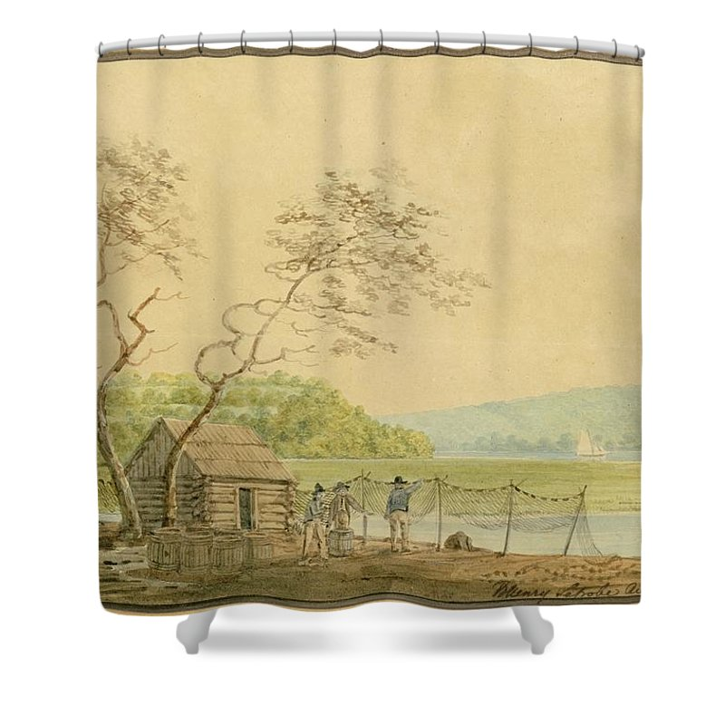 View From The Packet Wharf At Frenchtown Looking Down Elk Creek By Benjamin Henry Latrobe Shower Curtain featuring the painting View From The Packet Wharf At Frenchtown Looking Down Elk Creek by MotionAge Designs