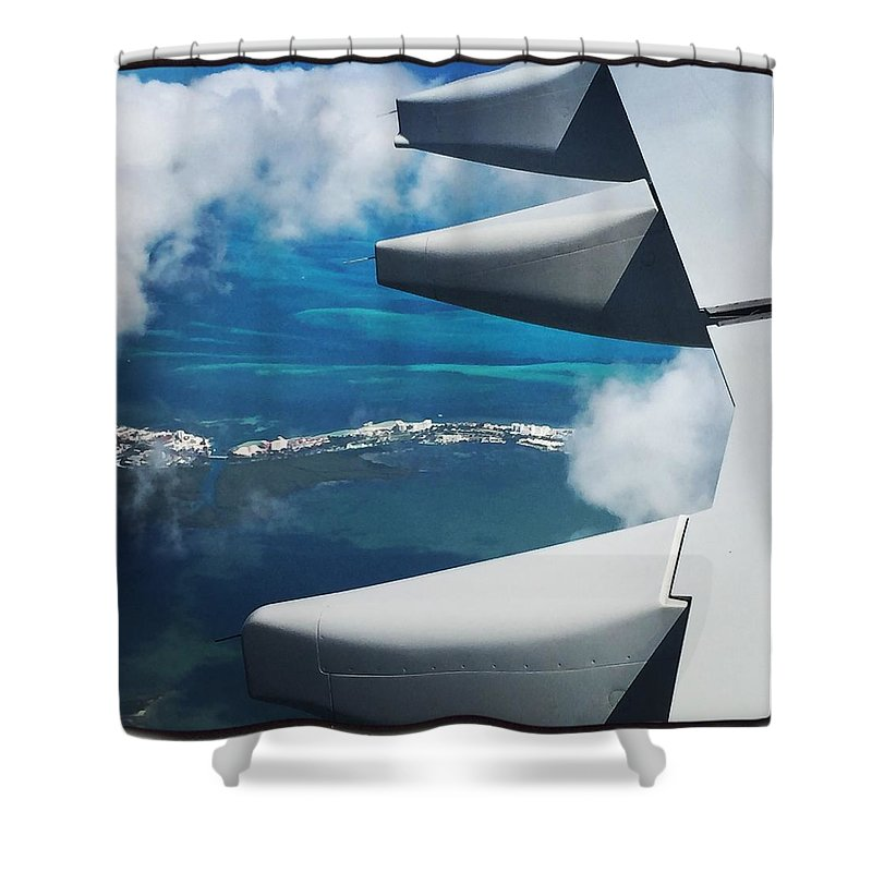 Airplane Photographs Shower Curtain featuring the photograph View From The Sky by Christina McNee-Geiger