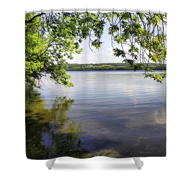Vermont Shower Curtain featuring the photograph View From Under At Lake Carmi by Deborah Benoit